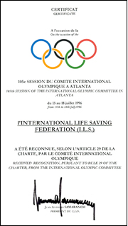 The Certificate received and signed by the IOC President.
